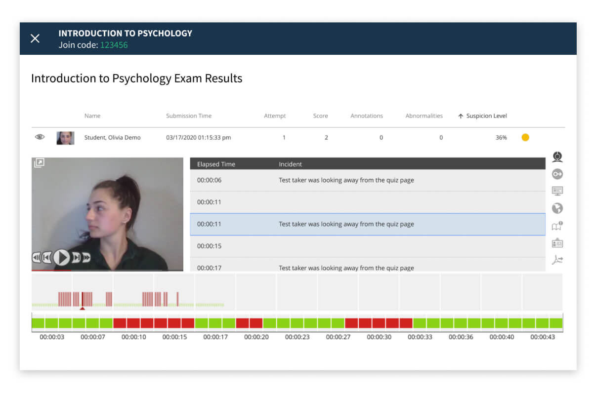 Secure online tests and exams