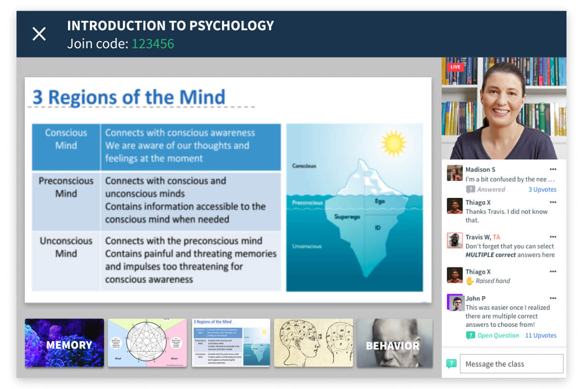 Virtual classroom streaming