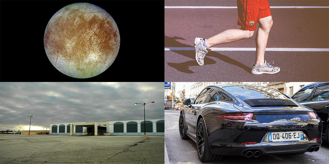 Europa and exercise via a shuttered mall and a luxury car.