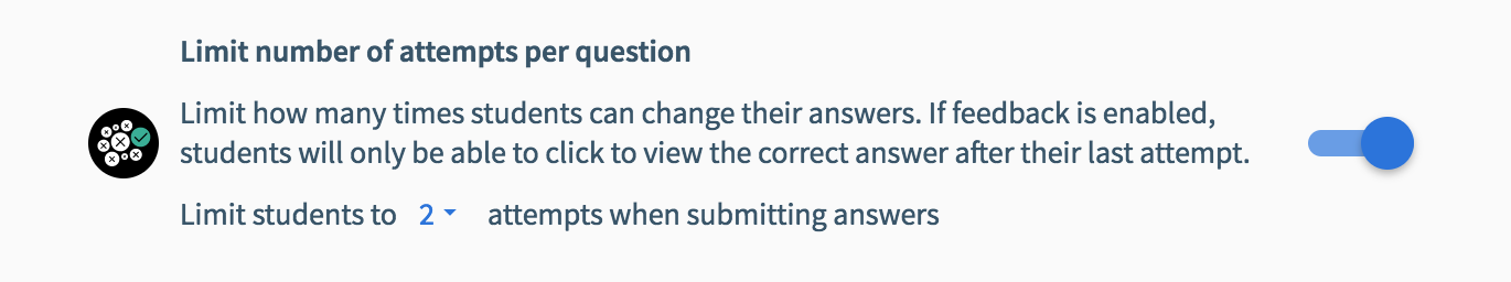 Limiting question attempts