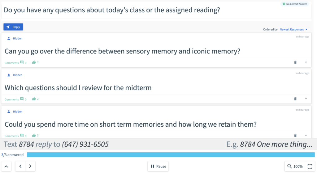 """An anonymous Top Hat poll is shown. A question asks, """"Do you have any questions about today's class or the assigned reading?"""""""