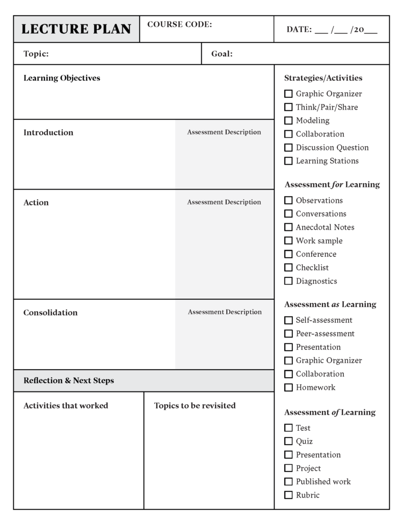 Lesson Plan Template Download in Word or PDF | Top Hat