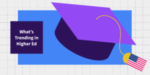 A purple grad cap is shown against a blue background. The cap's tassel is the American flag.