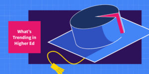 "An upside down mortarboard is shown. A ""slice"" of the cap is being cut, depicted in pink."