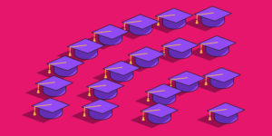 Purple mortarboards arranged in a pyramid shape on a pink background