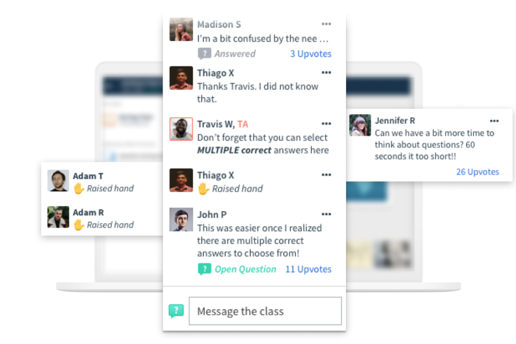 Top Hat in-app chat. Students ask questions and raise their hands.