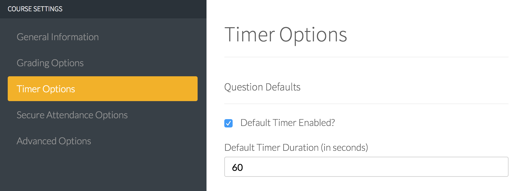 Course administration settings: Timer options